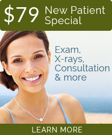 $79 New Patient Special! Exam, X-rays, Consultation and more. Learn more.